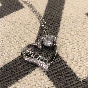 Jewelry - Mom Heart Necklace Sterling Silver CZ Stones